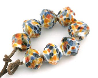 Ribbed Bicone Royal Flush Handmade Lampwork Glass Beads (8 Count) by Pink Beach Studios (1494)