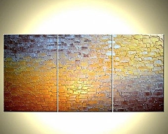 Original Abstract Painting, Gold Metallic Painting, Palette Knife Art, Large Painting, Abstract Textured Modern Wall Art by Lafferty, 36x72