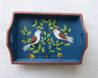 12th scale dollhouse  miniature  handpainted tray,  decorated with the  tree of life in a blue background, traditional folk art design