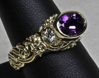 Celtic Cats Amethyst and Diamond Ring in 14k Yellow Gold Size 6 3/4