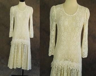 vintage 80s Lace Dress -1980s White Sheer Lace Dress - Drop Waist Flapper Dress Mermaid Hem Maxi Sz S