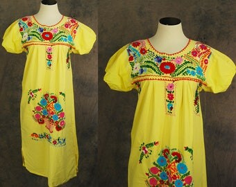 vintage 70s Mexican Peasant Dress - Boho Yellow Embroidered Tent Dress Sz S M L
