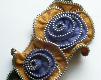 Gold and Periwinkle Multi Flower Floral Brooch / Zipper Pin - 3081