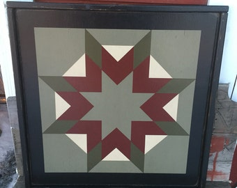 PRiMiTiVe Hand-Painted Barn Quilt - 3' x 3' Harvest Star Pattern (Old Mill Version)