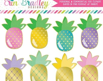 50% OFF SALE Golden Pineapples Clipart in Pink Blue Yellow & Purple Instant Download Pineapple Clip Art Graphics