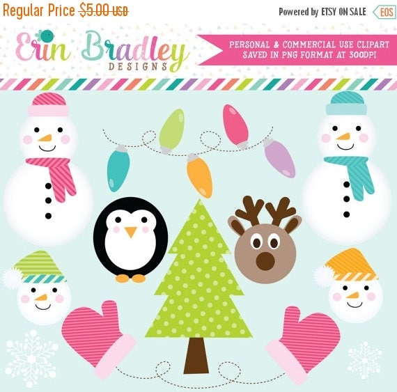 70% OFF SALE Snowman Holiday Clipart Christmas Tree Christmas Lights Penguin Mittens & Reindeer Digital Clip Art Graphics