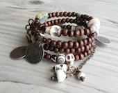 RESERVED for Mel - Wood and Vintage Gypsy Metalwork Wrap Bracelet - Memory Wire Coil Bracelet, Off-White Bracelet Stack, Boho Wedding