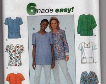 1998 Simplicity 8351 Women's scrub top sewing pattern size 8-12