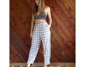 25% off Flash Sale . . . Plaid High Waist Pleat Front Trousers - Vintage 90s - S/M