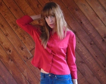 extra 30% off sale . . . Red Button Down PRADA Designer Blouse Shirt - Vintage 90s - SMALL S