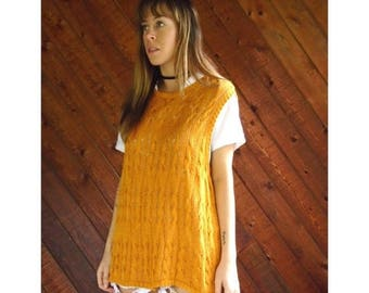 extra 30% off sale . . . Mustard Yellow Cable Knit Sweater Vest - Vintage 90s - LARGE
