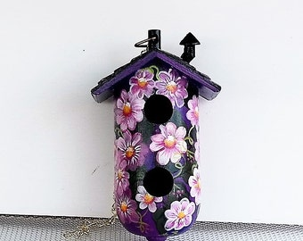 Purple  Decorative Birdhouse  Lots of Flowers , with Two Holes , Hand Painted , and a Chimney