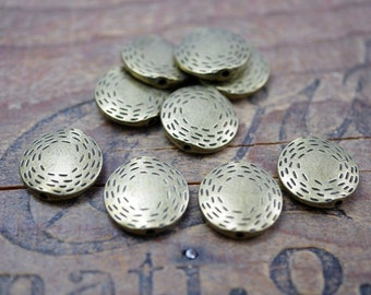 Pewter Bead Metal Bead Flat Coin Bead Coin Bead Antiqued Brass Bead 16mm (4) P139