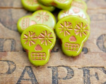 Glass Sugar Skull Beads Chartreuse Copper Beads 20x16mm Glass Bead Czech Glass Beads (4)