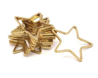 Brass Star Charm, 50 Raw Brass Open Star Charms (21x0.8mm) BS 1077