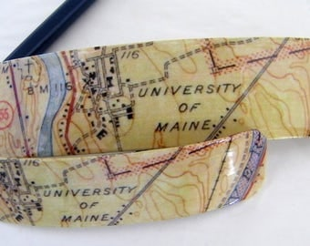 University of Maine French Barrette - Mother Daughter gift - Mainemade - with Resin Coat - Orono - Alumna Gift - Stillwater - Penobscot
