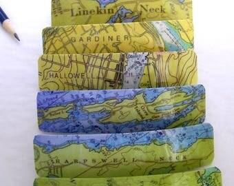 "4.5""  French Barrette - Orrs - Harpswell - Five Islands - Hallowell - Gardiner - Squirrel Island - Linekin Neck Maine - Resin Coat"