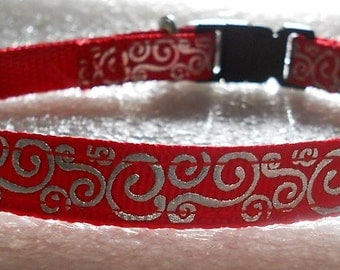 Red Ribbon with Silver Metallic Swirls Cat Collar, Kitten Collar, Breakaway Collar - girl cat, boy cat, Holidays