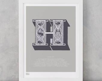 Illustrated Letter H, Letter H, Illustrated Letter H, Illustrated Alphabet Wall Posters, Illustrated Letters, H, Illustrated Hare