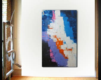 Original large abstract painting palette knife wall art deco by Elsisy 50x30 Free US shipping blue pink orange