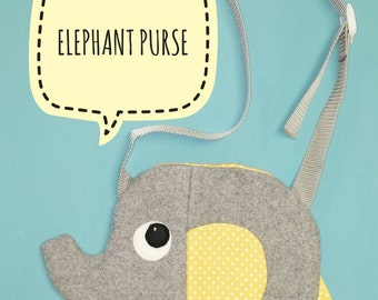 Elephant Purse. Handmade, Girl, Gift, Animal, Bag
