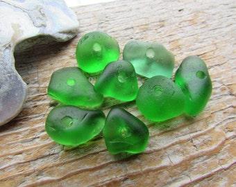 GREEN Beach GLASS Beads White Drilled Sea Glass Beads