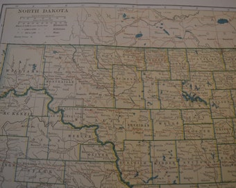 1912 State Map North Dakota - Vintage Antique Map Great for Framing 100 Years Old