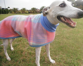 plaid in pink and blue...winter coat for a whippet in vintage wool blanket and polar fleece