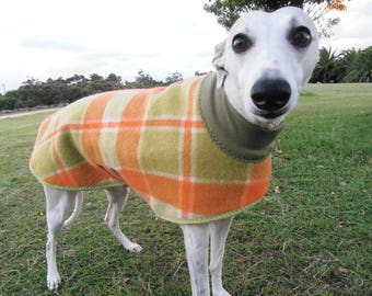 plaid in orange and olive...winter coat for a whippet in vintage wool blanket and fleece