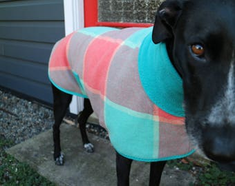 watermelon ice...winter coat for a small greyhound or lurcher in vintage wool blanket and polar fleece