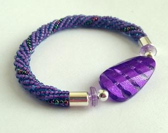 Purple Stretch Bracelet - Beaded Bracelet with Purple Striped Focal Bead