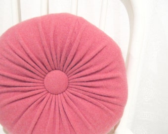 Dark Pink Cashmere Round Throw Pillow Accent Decorative Couch Cushion Cashmere Wool Sweater Pillow Hostess Gift Housewarming Gift 103