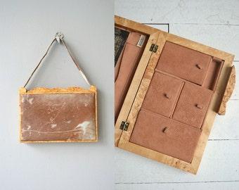 Pony Travel case   vintage 1950s ponyhair travel case   50s jewelry case