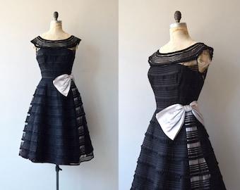 Sonatina dress | vintage 1950s dress | black 50s party dress