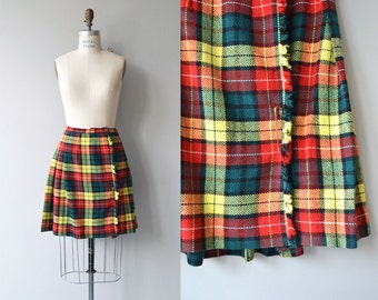 Buchanan Plaid skirt | vintage 1960s kilt | 60s tartan plaid skirt