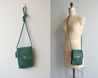 Green Coach Scooter bag | vintage small Coach purse | green leather Coach crossbody
