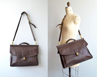 Coach 'Beekman' bag | Coach leather attache | brown leather Coach briefcase