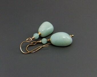 Aqua Amazonite Gemstone Nugget Bead Drop Earrings, Handmade, Gold filled ear hooks, Classic style, smooth nugget beads