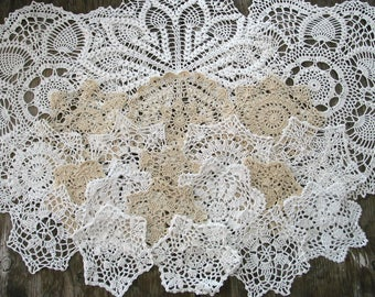 """lot of 21 Hand Crochet Doily 5""""-7""""-15"""" for Cottage/Victorian/Shabby/Boho/French Style,Tea Party, Vintage Wedding"""