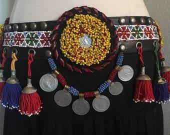 Tribal,ATS, festival ,medallion , beading, leather  belt