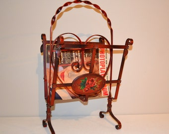 Vintage Magazine Rack Wrought Iron