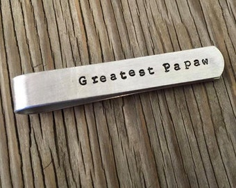 Custom hand stamped gift for him Aluminum hand stamped tie clip- Father Dad gift boyfriend wedding party mens accessories