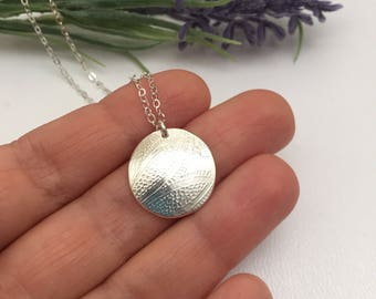 Floral Paisley Embossed Fine Silver Disc Pendant