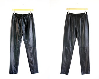 Verducci Brand Vintage Woman's Black Leather Low Waist Tapered Leg Retro Pants