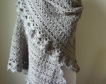 Crochet Shawl in Taupe Beige Tones - Wrap Evening Wear - Women's Shawl - Ready to Ship - Direct Checkout - Gift for Her