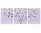 Reserved Listing - Lilac and Gray Nursery Wall Art - Large Tree Painting - Original Art on Triptych Canvas - Large 50x20
