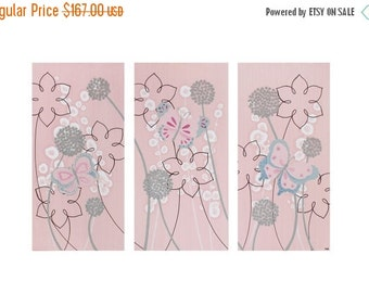 ON SALE Butterfly Nursery Art - Pink and Gray Original Painting Triptych Canvas - Medium 32x20