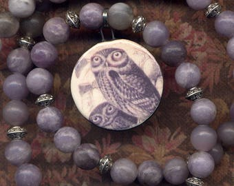 RESERVED Lilac Owl Necklace, Handmade clay Mom and Baby Owl Pendant on Lilac Quartz  necklace, Hoot Necklace, Magic Owl Jewelry by Anna