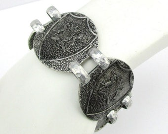 Bracelet Coat of Arms Shield Antiqued Silver tone