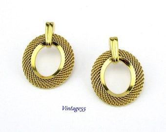 Mesh Hoop Earrings Pierced Post